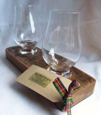 Whisky barrel glass holder with two Glencairn glasses | In ...