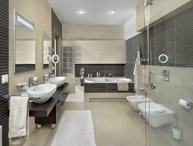 wohnideen badezimmer ohne fenster beige braune fliesen badewanne - badezimmer ohne fenster