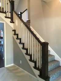 After:Box newel post with stair tread and riser caps and 1 ...