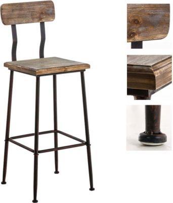 Industrial Design Barhocker QUEENS mit Lehne, 4 Beine, Materialmix - barhocker mit lehne 15 beispiele