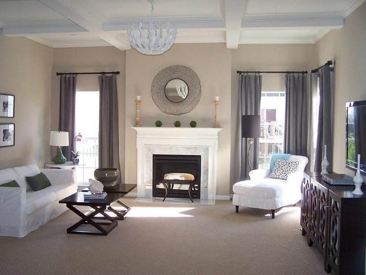 Sherwin Williams Balanced Beige - we just painted the living room - gray and beige living room