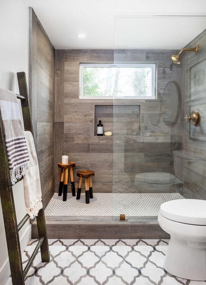 Love this farmhous bathroom! Wood vanity, patterned floor, black - bathroom floor tiles ideas
