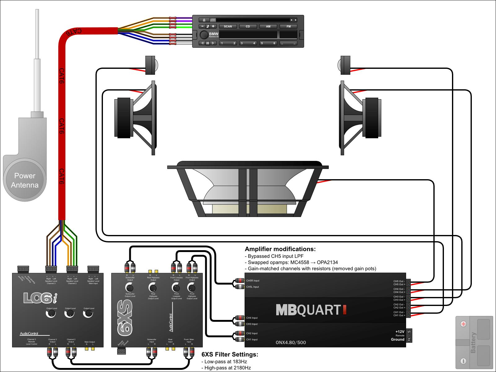 multi amp car audio wiring