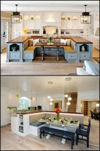 A kitchen island with built-in seating is a great option ...