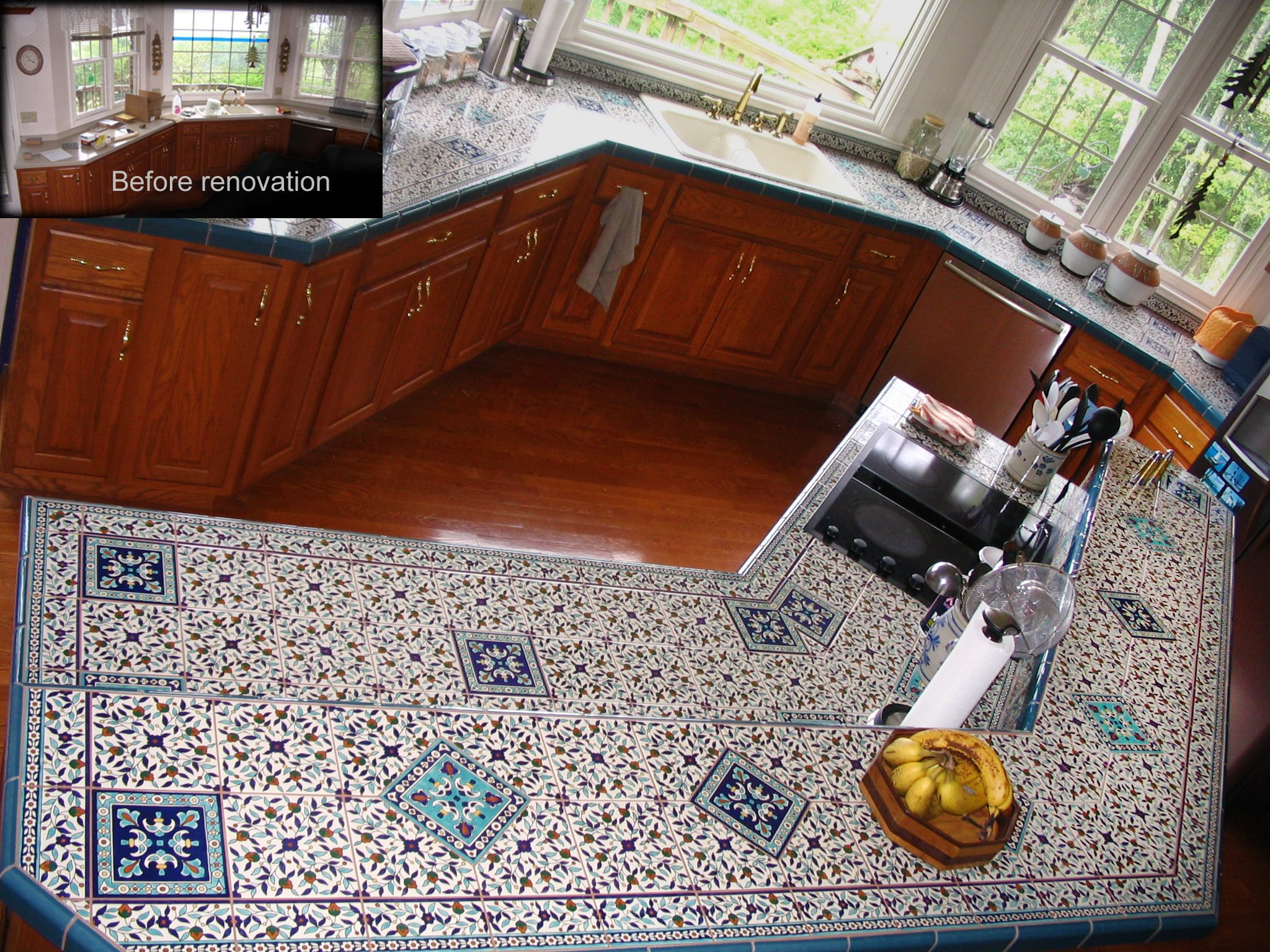 Ceramic Tile Kitchen Countertops Pictures Custom Hand Painted Ceramic Tile Kitchen Countertop For