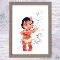 Disney princess Moana poster Baby Moana art print Girls ...