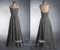 Grey strapless sweetheart long bridesmaid dress, dark grey