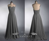 Grey strapless sweetheart long bridesmaid dress, dark grey ...
