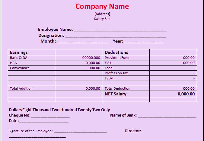 Salary Slip Format In Excel Free Download Company Templates - pay slip templates