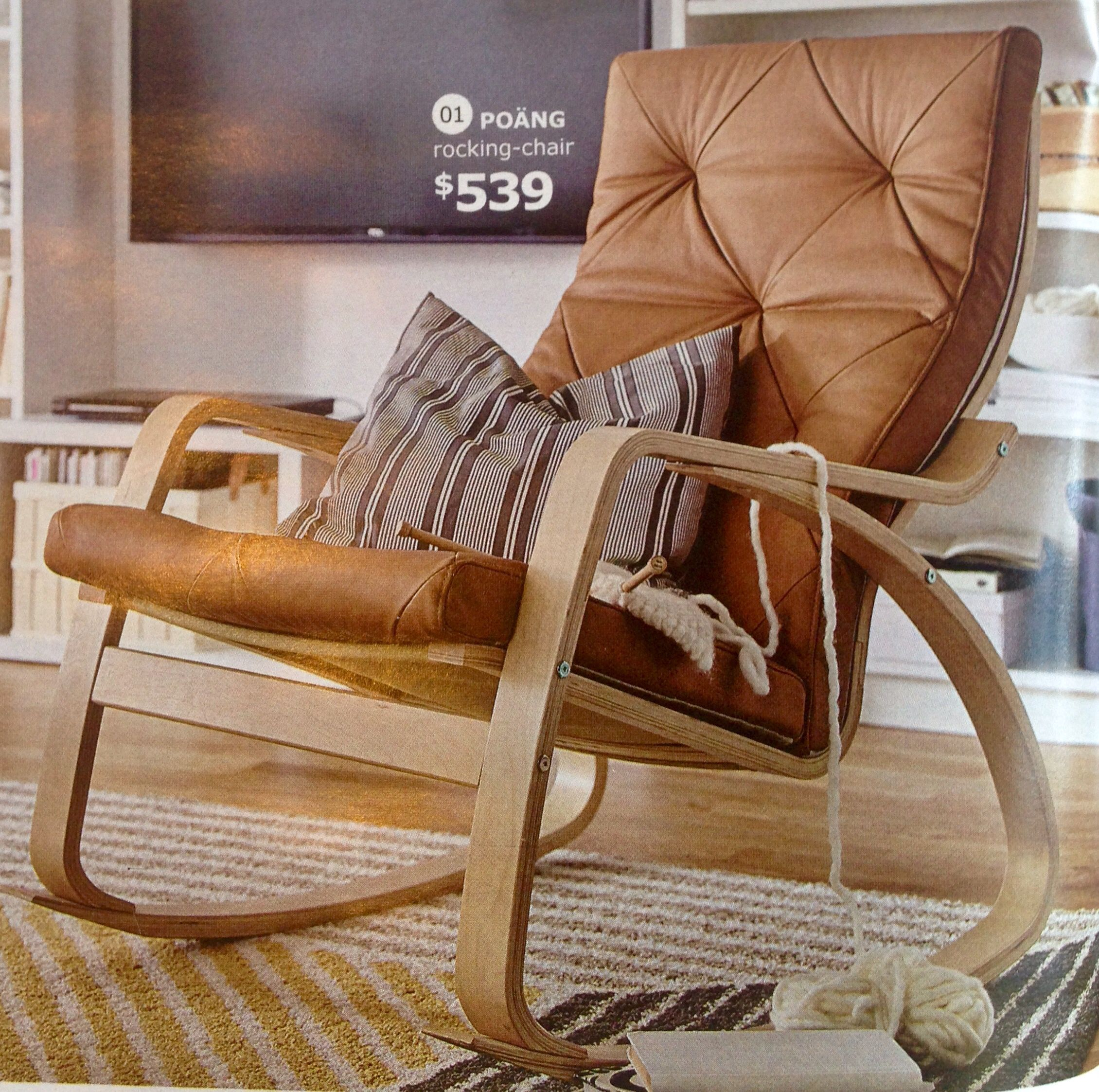 Ikea Poang Rocking Chair Seglora Natural Leather Cover Birch Veneer ...