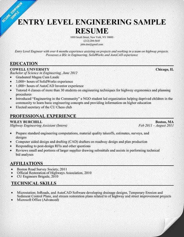 Entry Level Engineering Sample Resume (resumecompanion - entry level resume templates