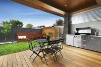 Modern alfresco backyard decking bbq built in small ...