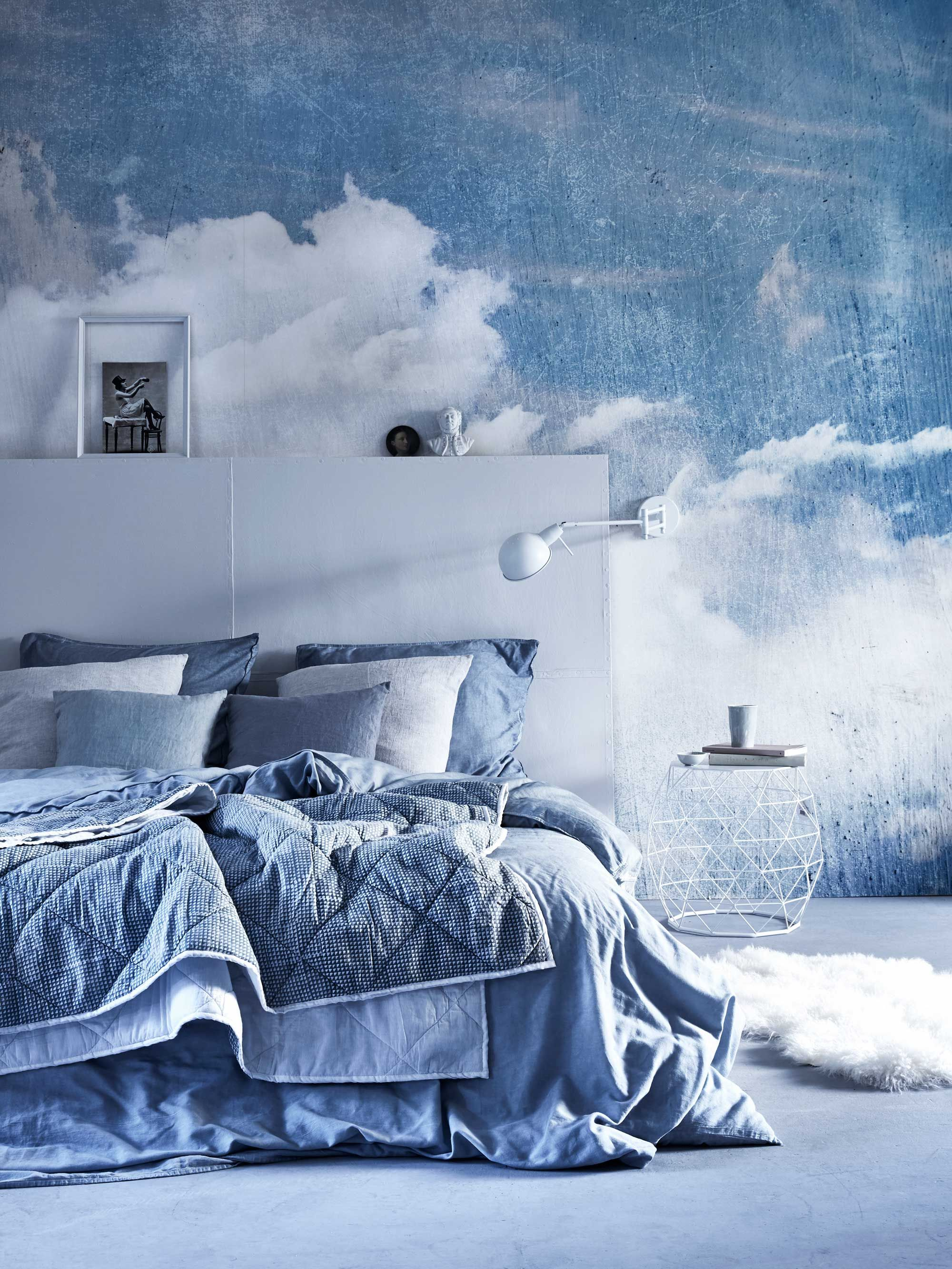 Cloud Wallpaper For Bedroom Blauwe Slaapkamer Met Wolken Behang Blue Bedroom With