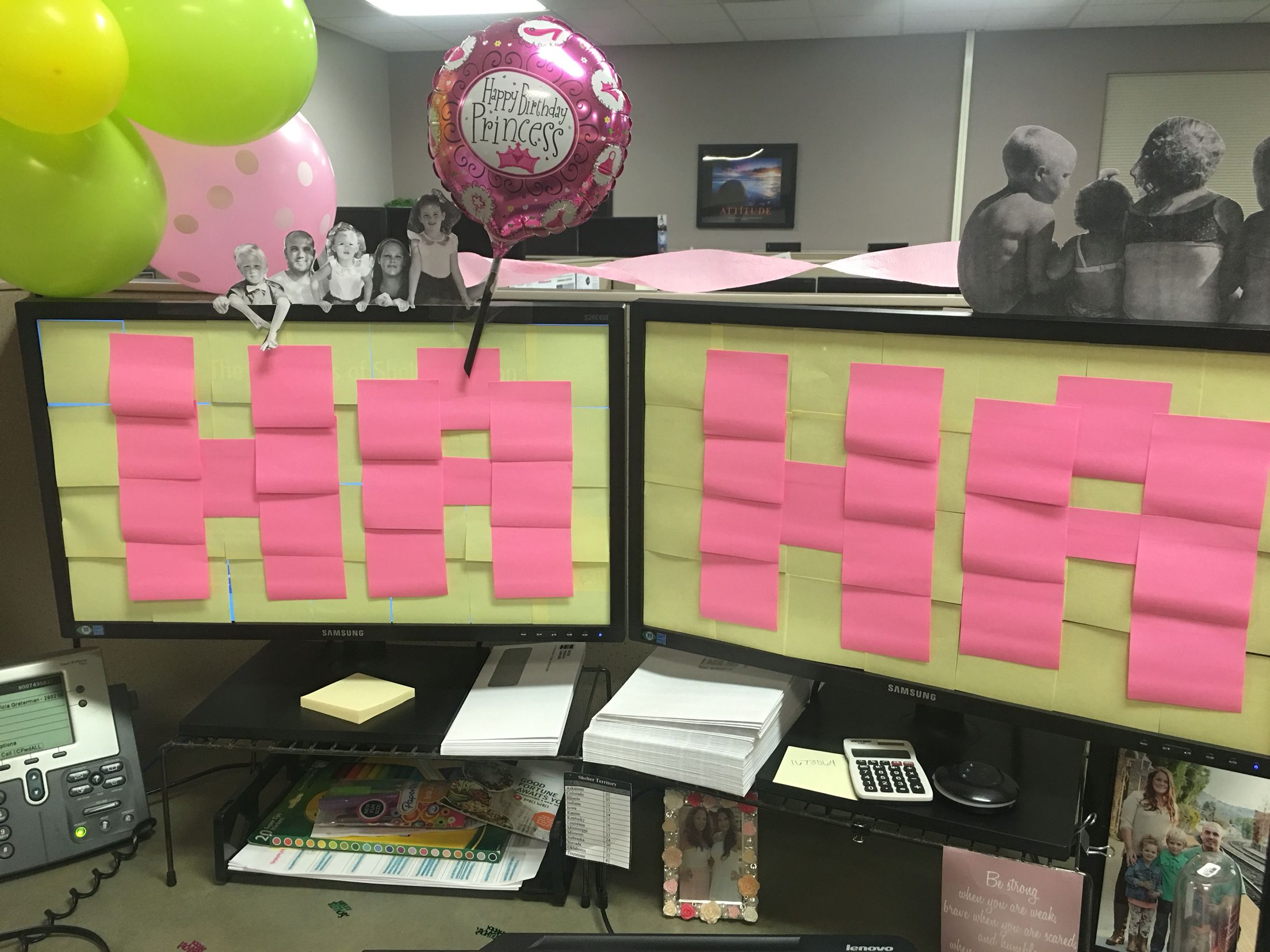 Work Office Decorating Ideas Pictures Work Decoration Birthday Cubicle Balloon Sticky Note