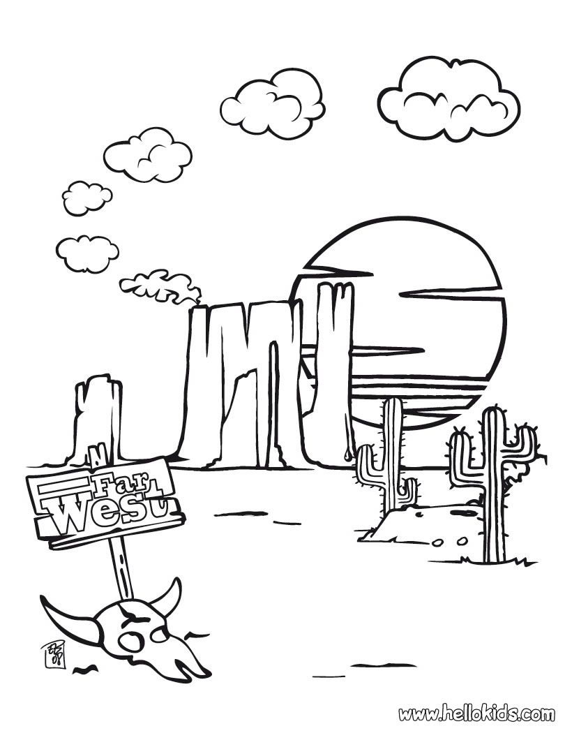 Far west coloring page