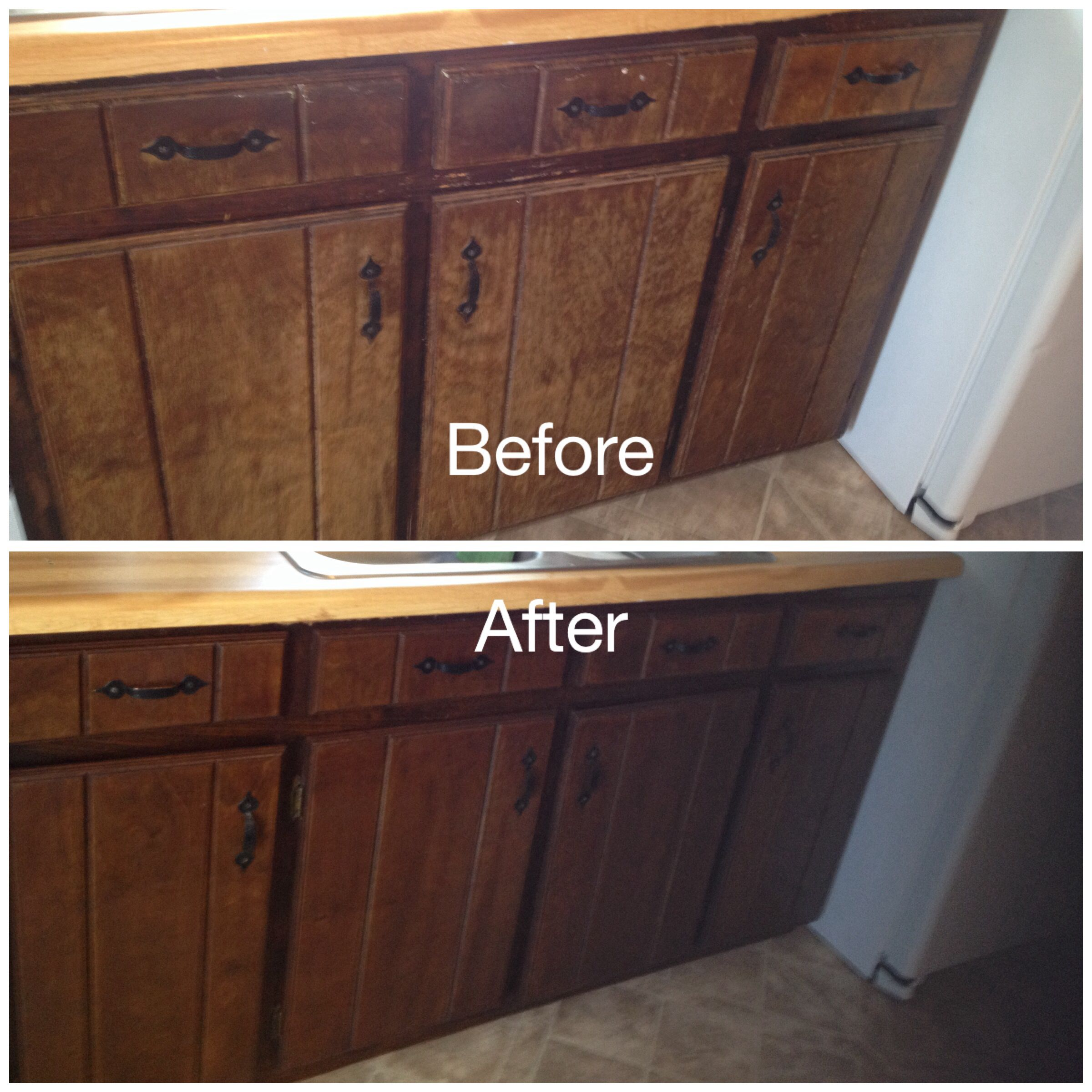 staining kitchen cabinets My worn kitchen cabinets stained with Minwax Gel Stain in Hickory removed doors