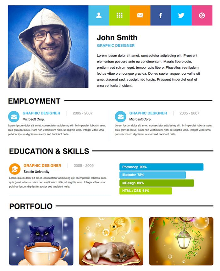 Personal website resume examples
