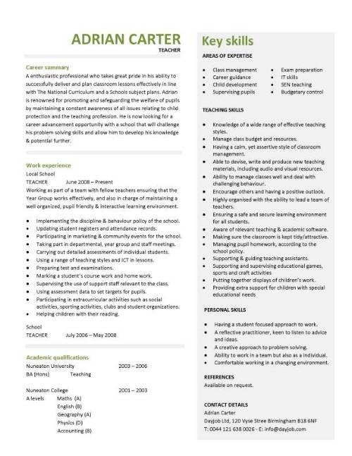 Teacher CV template, lessons, pupils, teaching job, school - example resume teacher