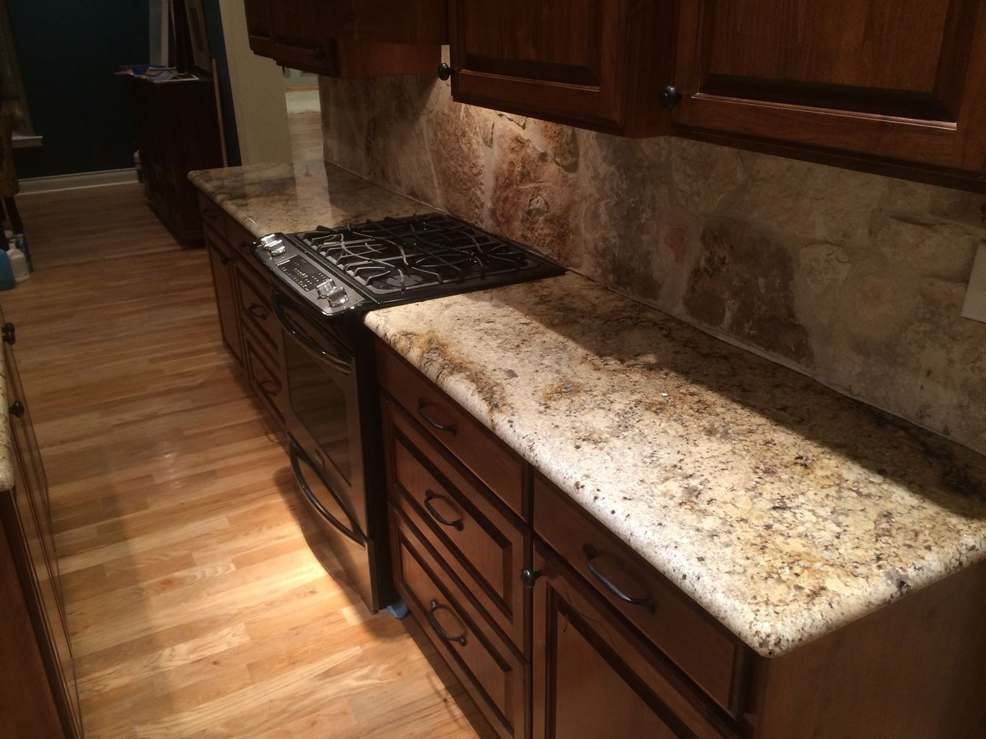 Dark Countertops With Dark Cabinets Sienna Beige Kitchen Granite Neutral Rustic Home