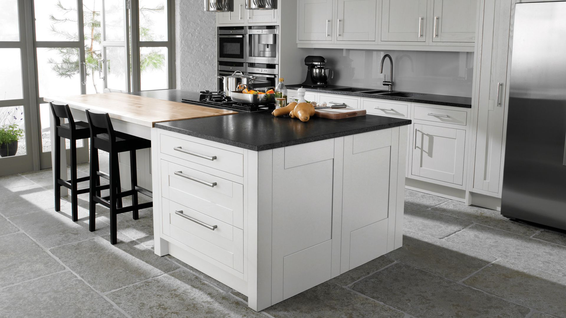 White Floor White Cabinets White Kitchen Cabinets Black Floors Cabinets And