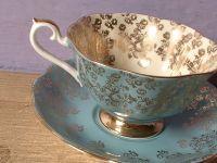 vintage blue tea cup and saucer set, Royal Albert bone ...