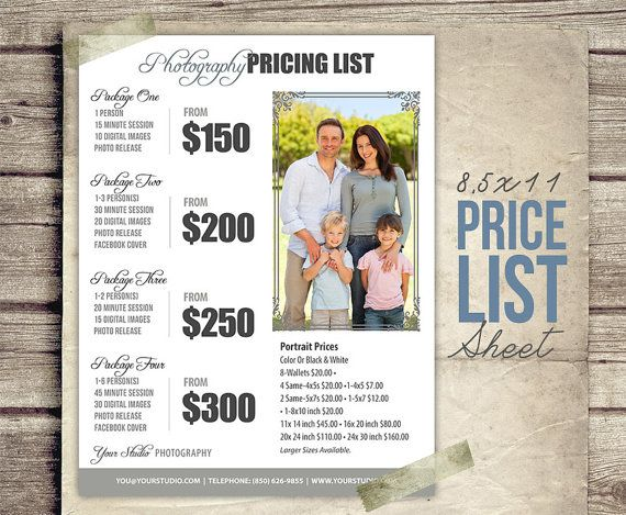Price Sheet Photography Template   Photography Price List   Price Chart  Templates