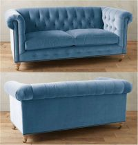 Sky Blue Tufted Velvet Chesterfield Sofa!