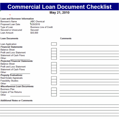 Commercial Loan Document Checklist Template | Office Templates | Pinterest | Commercial and Template