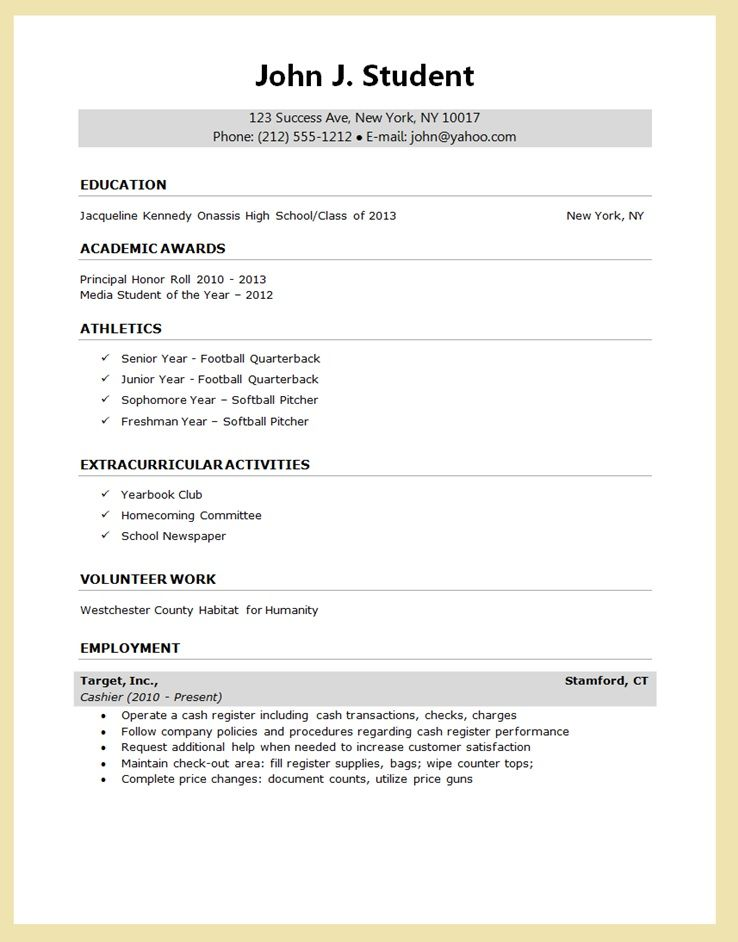 HIGH School senior resume for college application - Google Search - google resume format