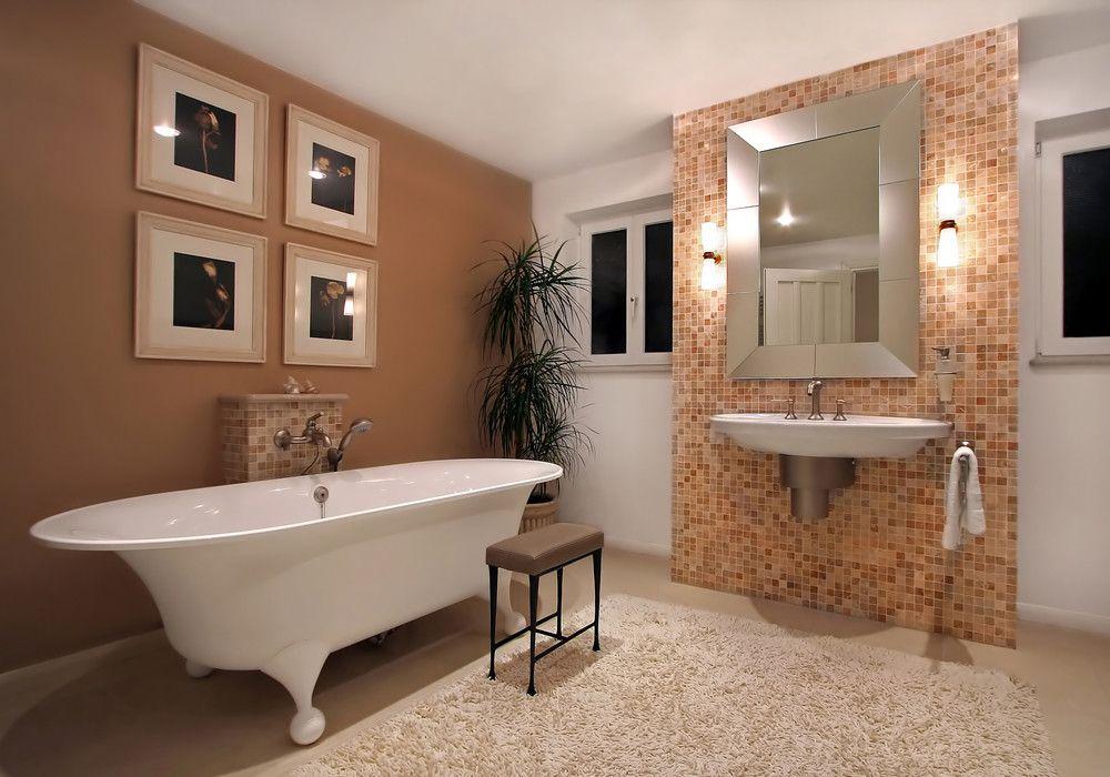 Badezimmer Badideen Fliesen Freistehende Badewanne Spiegel - badideen fliesen