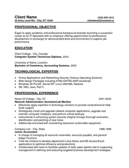 General Resume Objective For Entry Level General Resume - general resume objectives