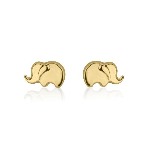 Solid Gold Earring Studs, Elephant Earrings, 14K Yellow