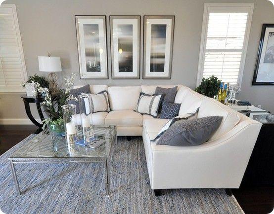 THAT SECTIONAL! Grey Living Room dark carpet light grey walls - grey and beige living room
