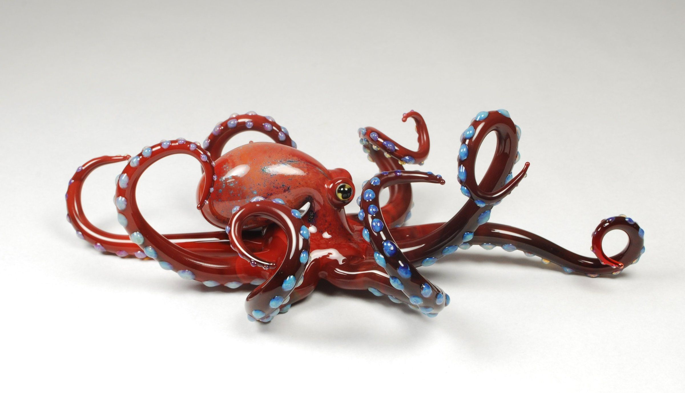 Octopus Glasses Red Octopus Art Glass Sculpture Created Artist By Jeremy