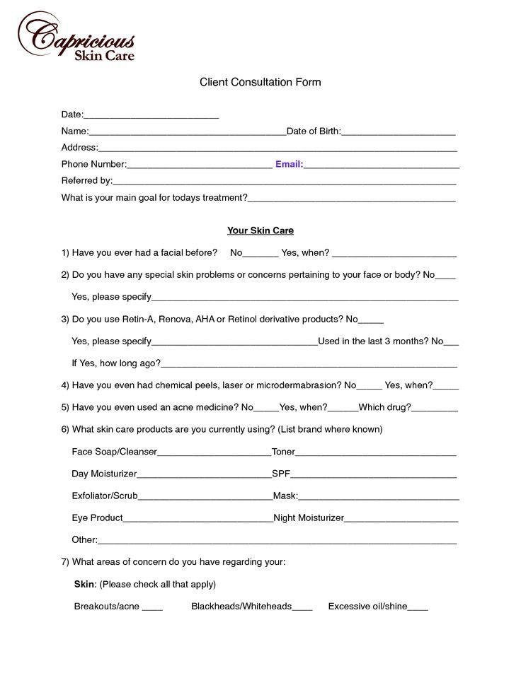 client consultation card for spa - Google Search Spa ideas - client information form template