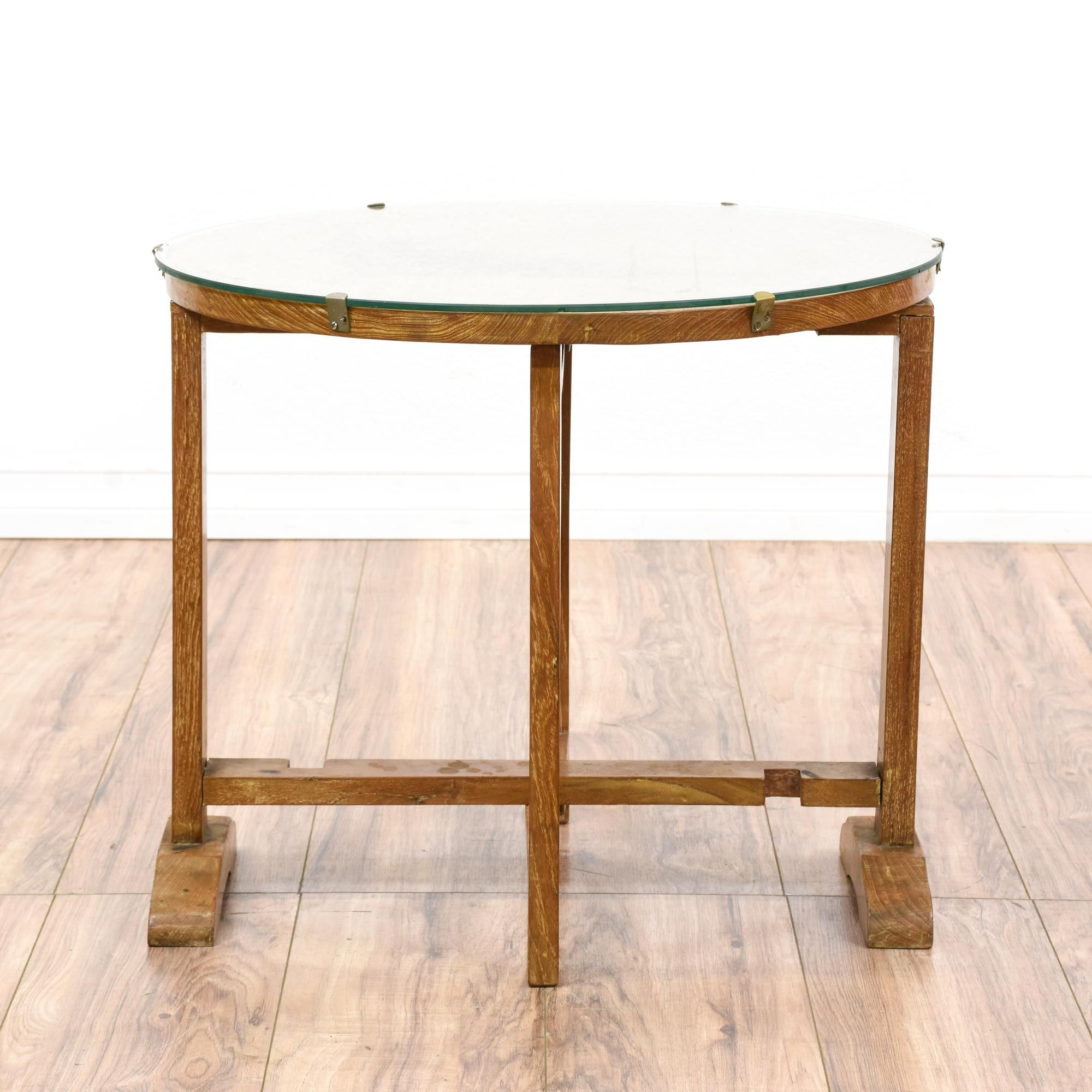 Round Oak End Tables This Asian End Table Is Featured In A Solid Wood With A