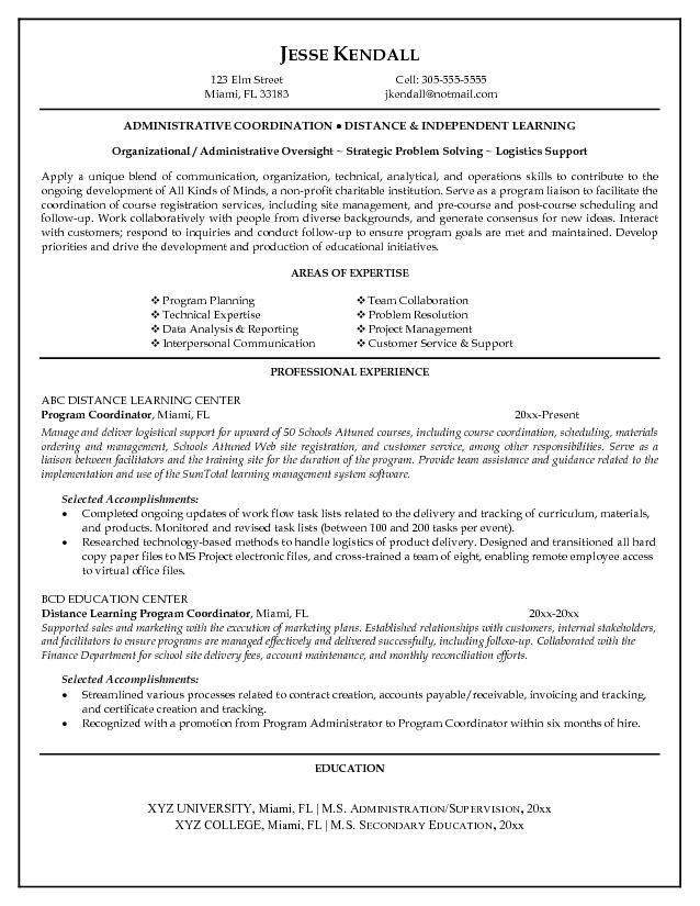 Program Coordinator Resume Program Coordinator Resume - logistics coordinator job description