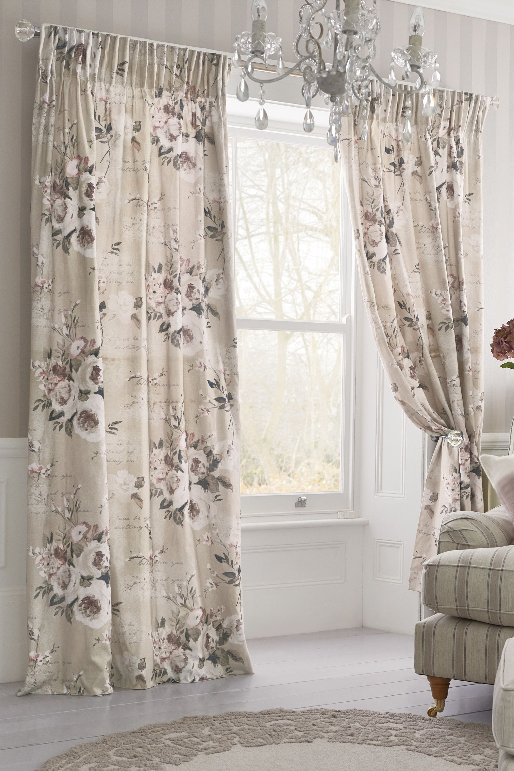 Ready Made Sheer Curtains Online Buy Mauve Floral Poetry Printed Pencil Pleat Curtains From