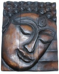 Hand Carved Wooden Thai Buddha Face Wall Art Plaque ...