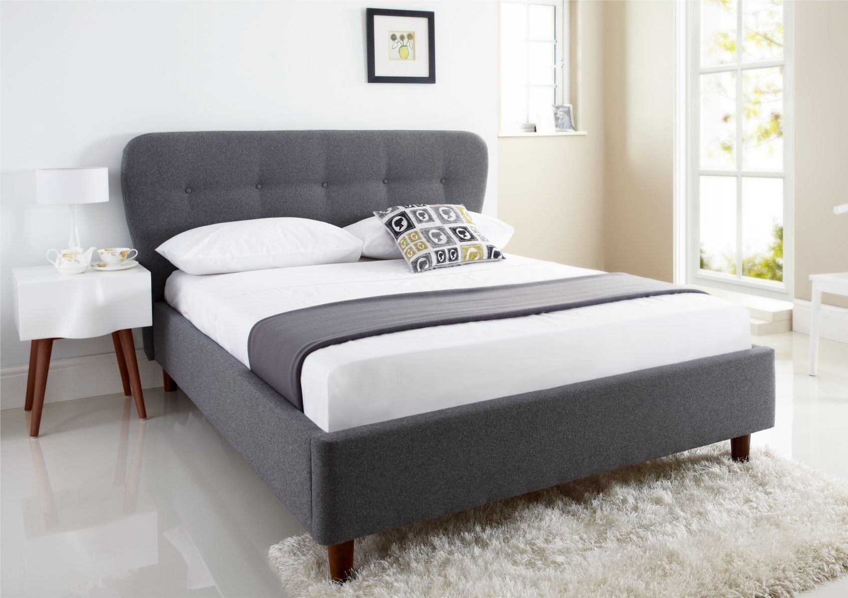 King Single Bed Ikea Oslo Upholstered Bed Frame Upholstered Beds Beds
