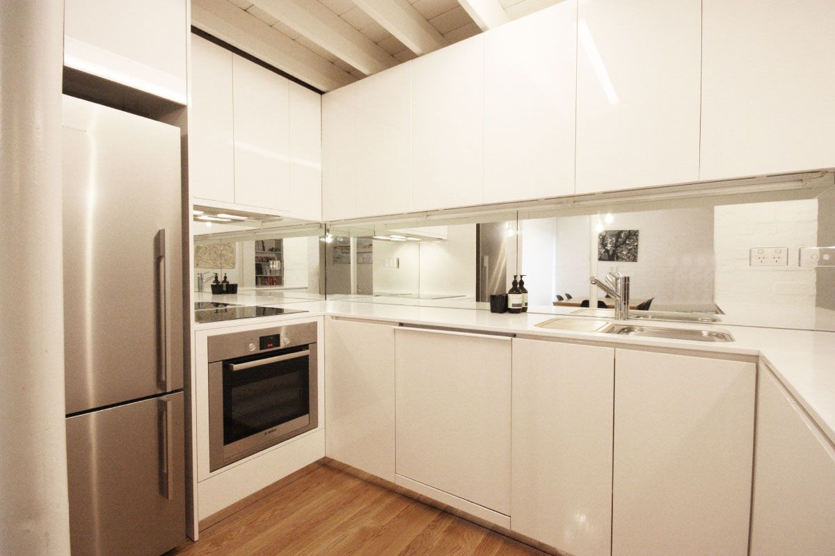Floor Mirrors Melbourne White Cabinets And Bench Tops Mirror Splash Back And