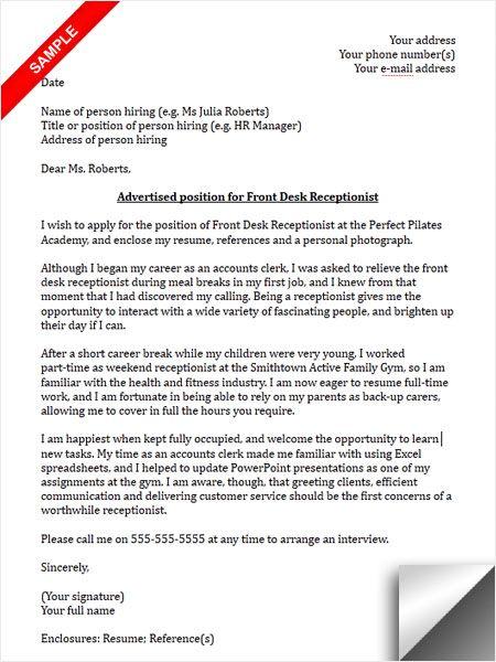 Receptionist Cover Letter Sample Cover Letter Sample Pinterest - cover letter for receptionist