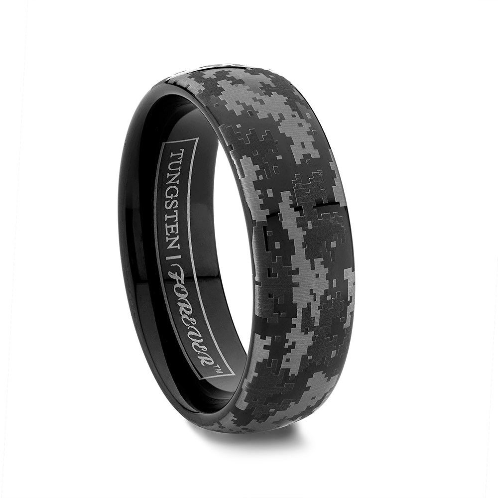 cheap camo wedding rings NIGHTHAWK 6MM 8MM Our popular camouflage design wedding bands and rings have gone digital