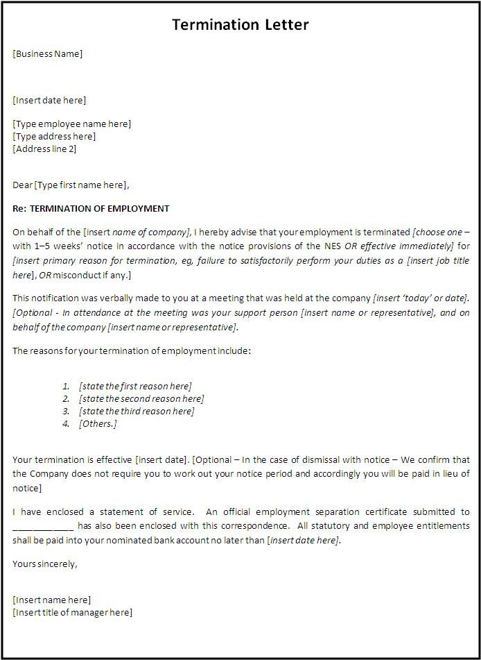 Termination Letter Format Free Word Templates - employment - job termination letter