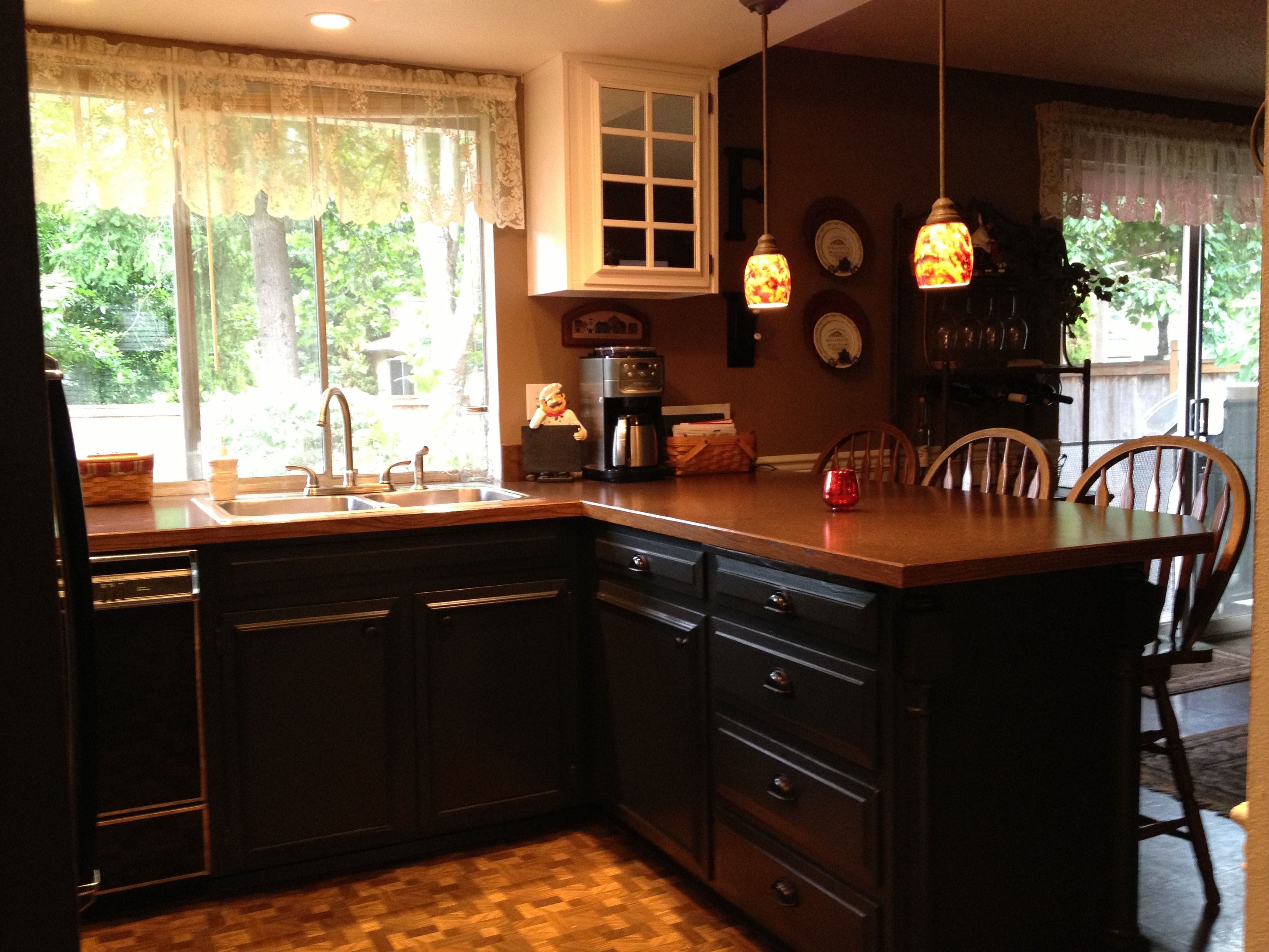 Black Base Cabinets White Upper Cabinets Did It Painted My Kitchen Base Cabinets Black Love The