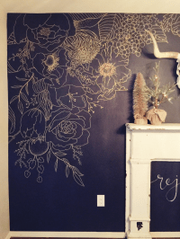 Faux Wallpaper: Gold Paint Marker Mural | Paint markers ...