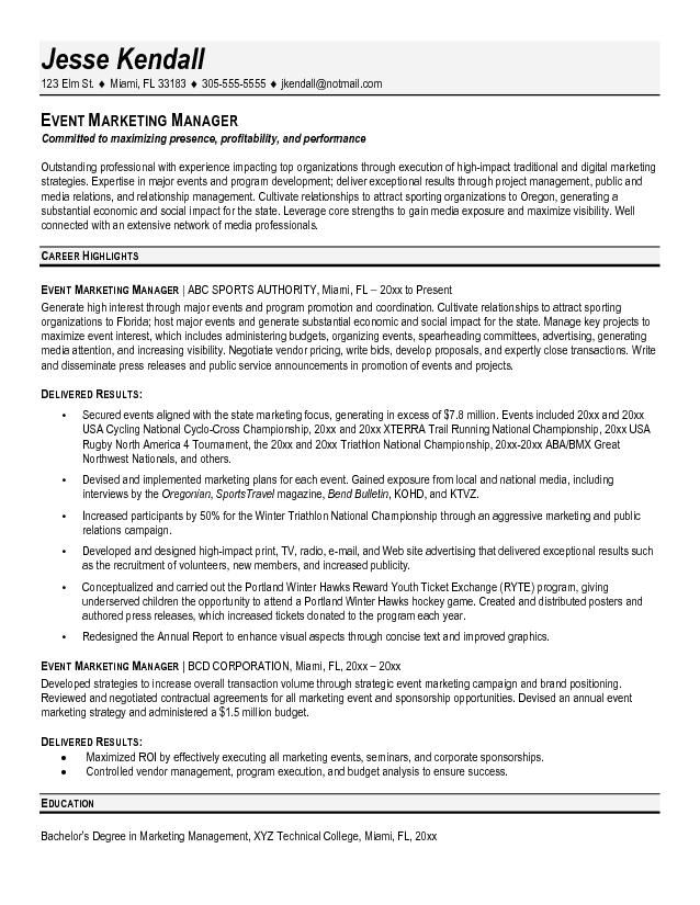 Marketing Director Resume Example Event Marketing Manager Resume - marketing director resume sample
