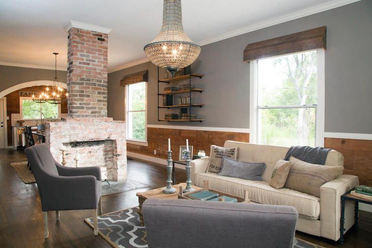 Fixer Upper - Modern country living room features gray paint on - modern country living room