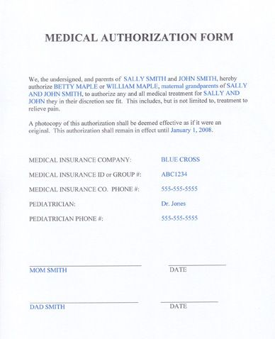 MomReady - Templates  Medical Authorization Form Parenting - free child travel consent form template
