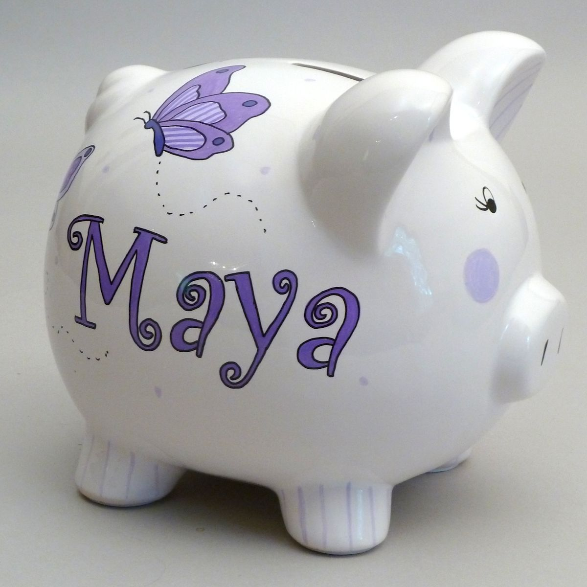 Piggy Bank Idea Large Lavender Butterfly Piggy Bank Is A Popular Design